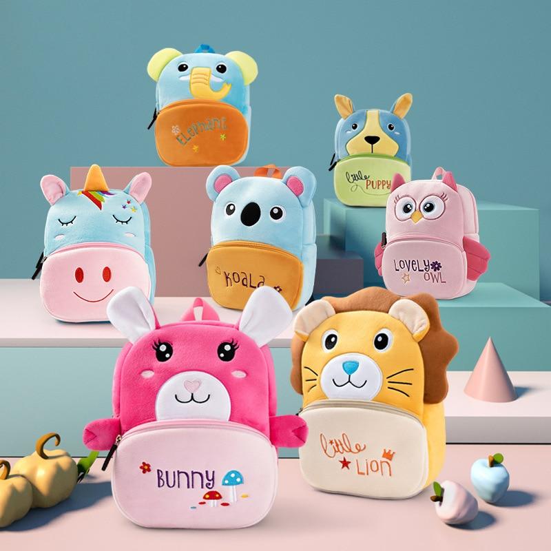 2020 Kindergarten Children School Bags Toddler Backpack Girls Soft Plush Kids Bags 3D Cartoon Animals Schoolbag Mochila Escolar