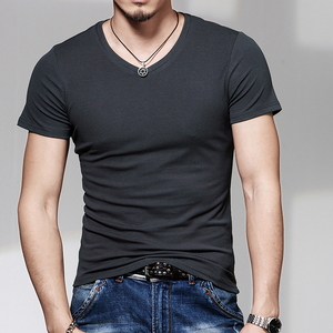 Image 4 - New men round collar short sleeve T shirt v neck pure color T shirt and a half sleeve T shirt cultivate ones morality is tight