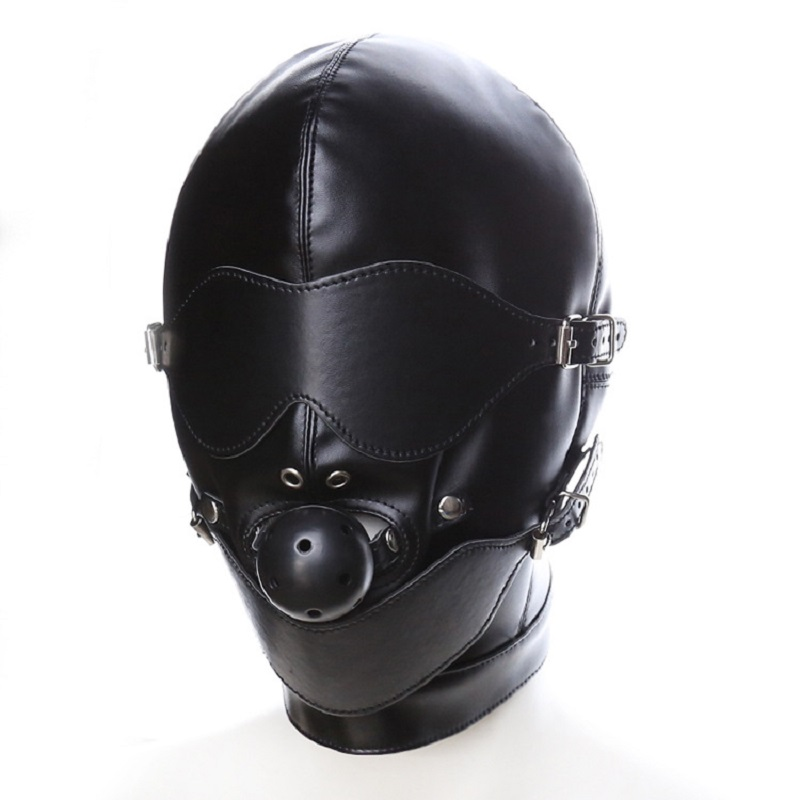 Leather Padded Hood Blindfold, Restraints Harness Mask, BDSM Bondage Gimp, Halloween Mask, Sex Toys For Couples