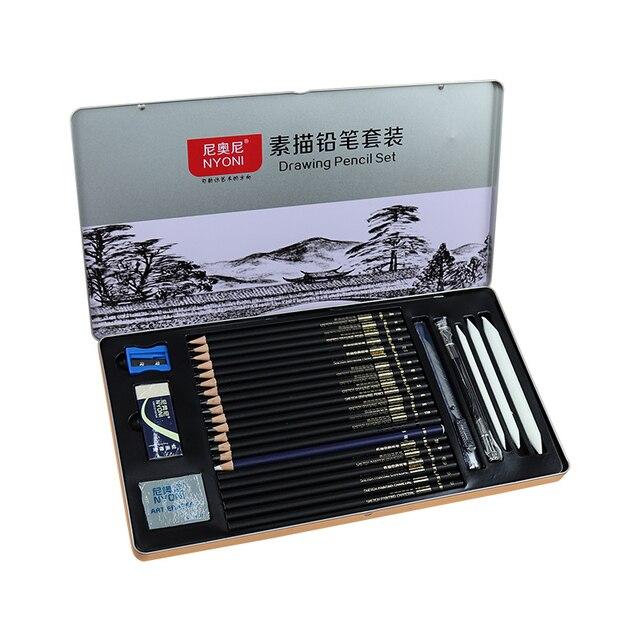 Карандаши NYONI Углеродные для рисования скетчей, набор из 29 предметов, 2H HB 2B 4B 6B 8B 12B 14B древесный уголь, ручка для рисования, Канцтовары