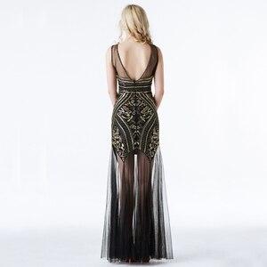 Image 3 - YIDINGZS Vestido largo de noche con pedrería de lentejuelas, negro y dorado, Sexy, para fiesta y noche, YD919