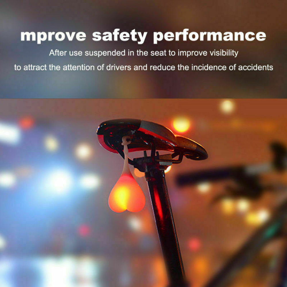 Silicone Bike Bicycle Back Rear Tail Cycling LED Light Heart Ball Egg Safe Lamp#