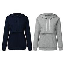 Nursing Maternity Clothes Long Sleeve Top Breastfeeding Cotton Hoodie Sweatshirt 4X7C