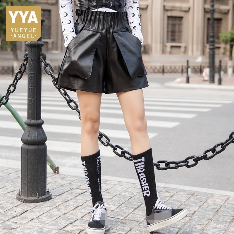 Streetwear High Waist Genuine Leather Shorts Women Autumn Winter Slim Wide Leg Trousers Luxury Elastic Waist Sheepskin Shorts
