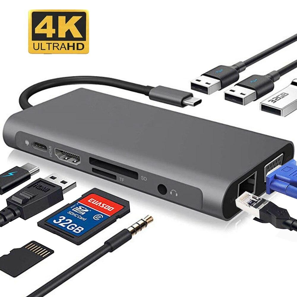 usb hub Adapter type-c card reader 10 in 1 Ethernet, HDMI, VGA, USB 3.0 ports Computer Accessories USB HUB For mac book pro