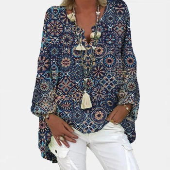 40# Women's Vintage Boho Print Blouses Oversized Long Sleeve V-neck Loose Casual Shirts Pullover Top Blusas Mujer De Moda 2020 1