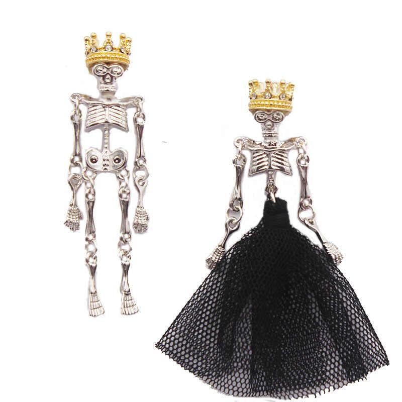 Gothique foncé mariage couronne de mariage couronne roi noir gaze jupe reine asymétrique boucles d'oreilles argent femmes bijoux boucles d'oreilles