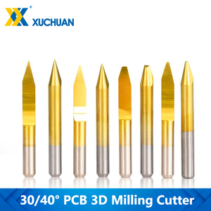 Flat End Mill PCB Engraving Bit TiN Coating Tungsten Carbide Cutter Milling 3D End Mill 10pcs 30/40 Degrees V Shape Router Bits