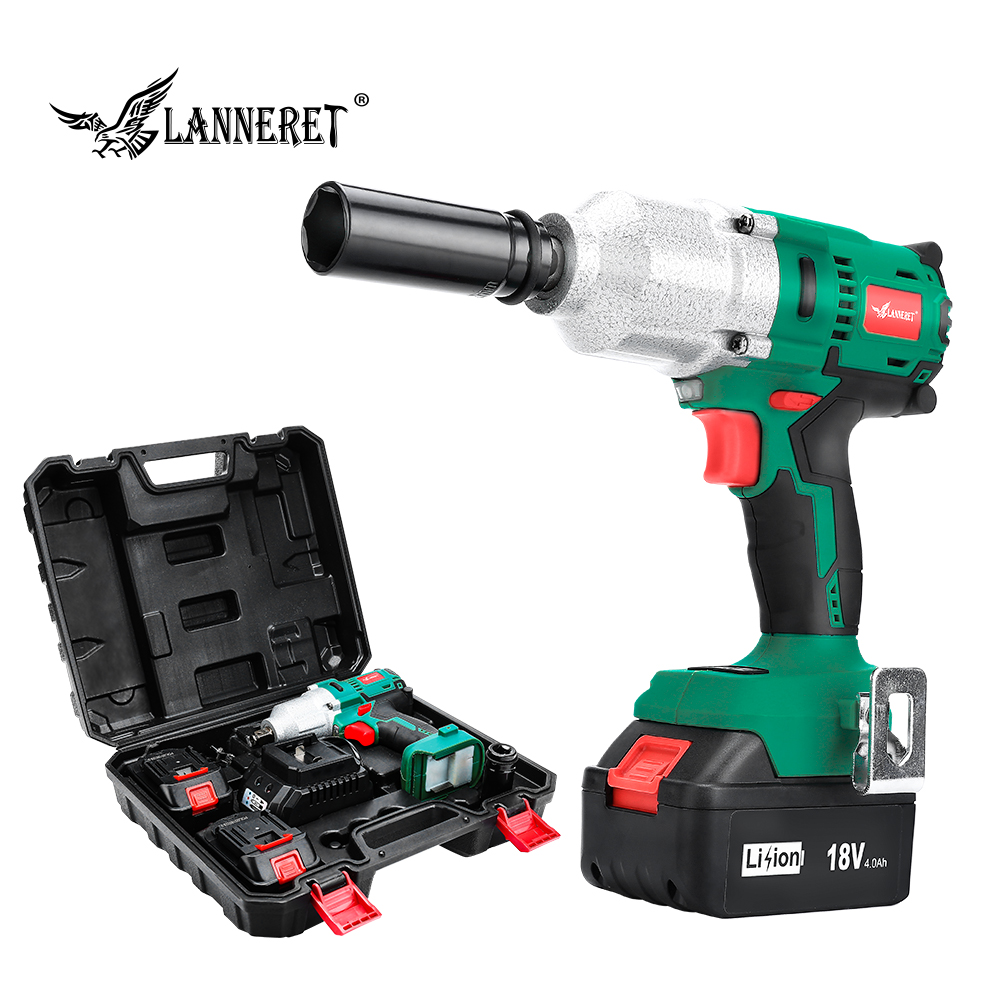 LANNERET 18V Brushless Cordless Impact Electric Wrench  300-600N.m Torque Household Car/SUV Wheel 1/2