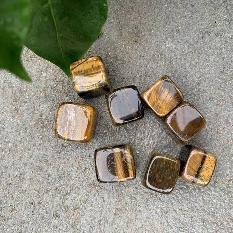 Brown Tiger Crystal Gravel Square 8Pcs Set Smooth Stone Collection Crafts Home Decoration Crystals Stones And Crystals Quartz in Stones from Home Garden