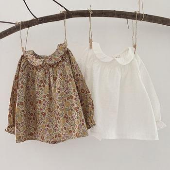 Niemowlę dziewczynka lalka dla noworodka koszula z kołnierzykiem ubrania dla dzieci koszula dziewczęca nowa 2021 wiosna jesień dla dzieci dziewczyna kwiecista długa koszulka z rękawem tanie i dobre opinie campure CN (pochodzenie) Europejskich i amerykańskich style COTTON Pełne Dobrze pasuje do rozmiaru wybierz swój normalny rozmiar