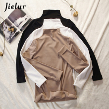 Jielur Cotton Women Shirts Female Korean Harajuku T-shirt Solid Color Turtleneck Simple Tops Autumn Long Sleeve Basic Tee XXL