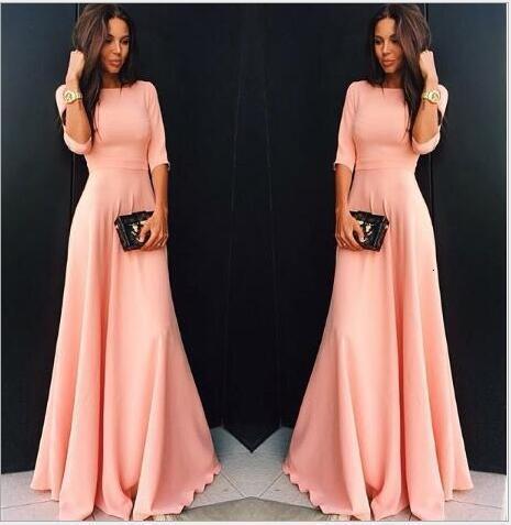 BacklakeGirls Elegant Generous Half Sleeve Candy Color Pink Dress Vintage Off Shoulder Satin Evening Dresses Sukienka Wizytowa