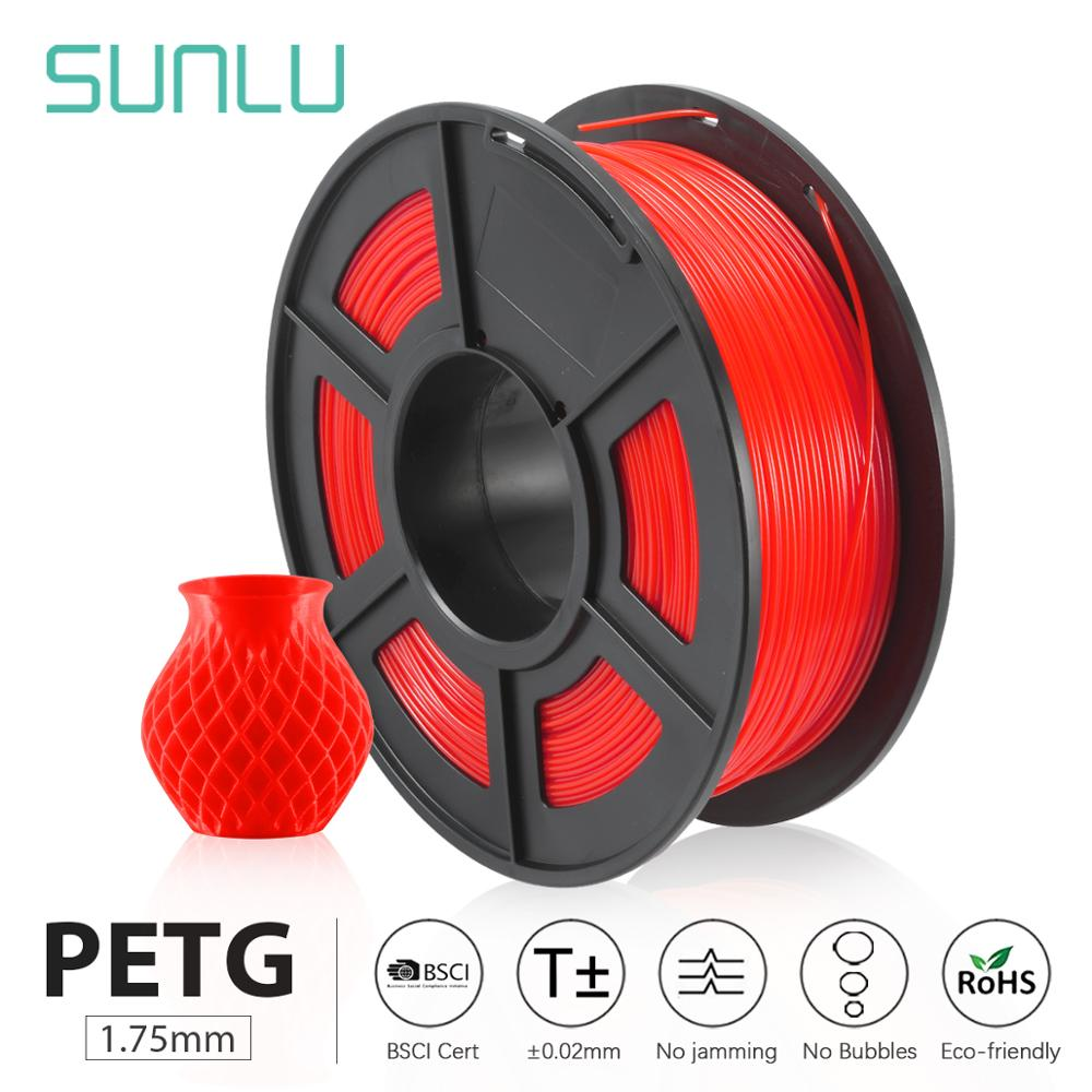 SUNLU PETG 3D Printer Filament 1 75mm 100percent No Bubble PETG 3D Filament Tolerance  -0 02mm Good For Print Pedant Lamshape 1KG