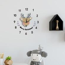 Deer Large Cartoon Wall Clock Christmas Modern Design Hanging Novelty DIY Classroom Home Decoration Children Clocks