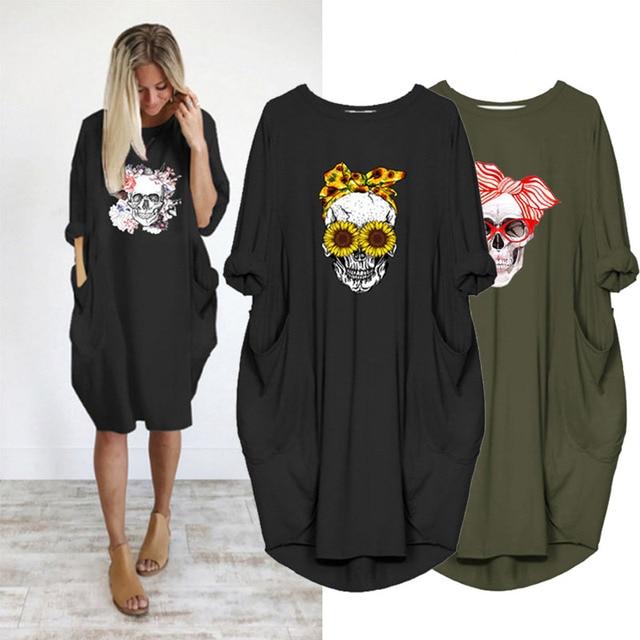 Plus Size 5XL Women's Dress Skull Print Long Sleeve O Collar Pocket Loose Casual Female Dresses Vintage Vestidos Robes Femme 1