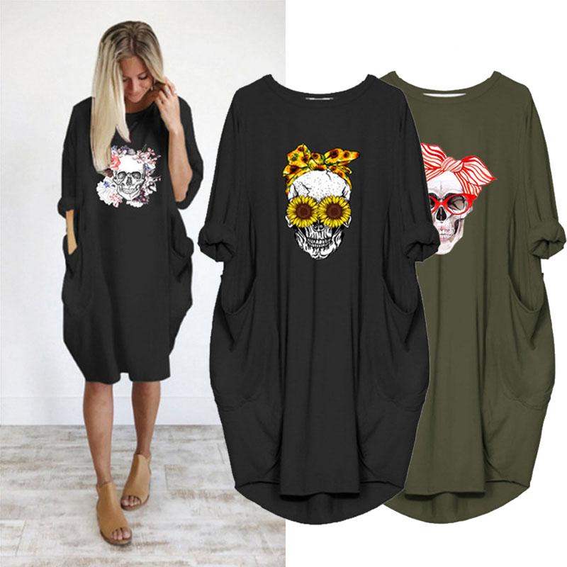 Plus Size Women's Midi Dress Skull Print Long Sleeve O Collar Pocket Loose Vintage Vestidos Robes Femme Casual Female Dresses