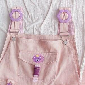 Image 5 - Mori Girl Cute Bear Women Jumpsuit Harajuku Kawaii Embroidery Teens Ankle length Overalls Pink Pants Vintage Loose Solid Romper