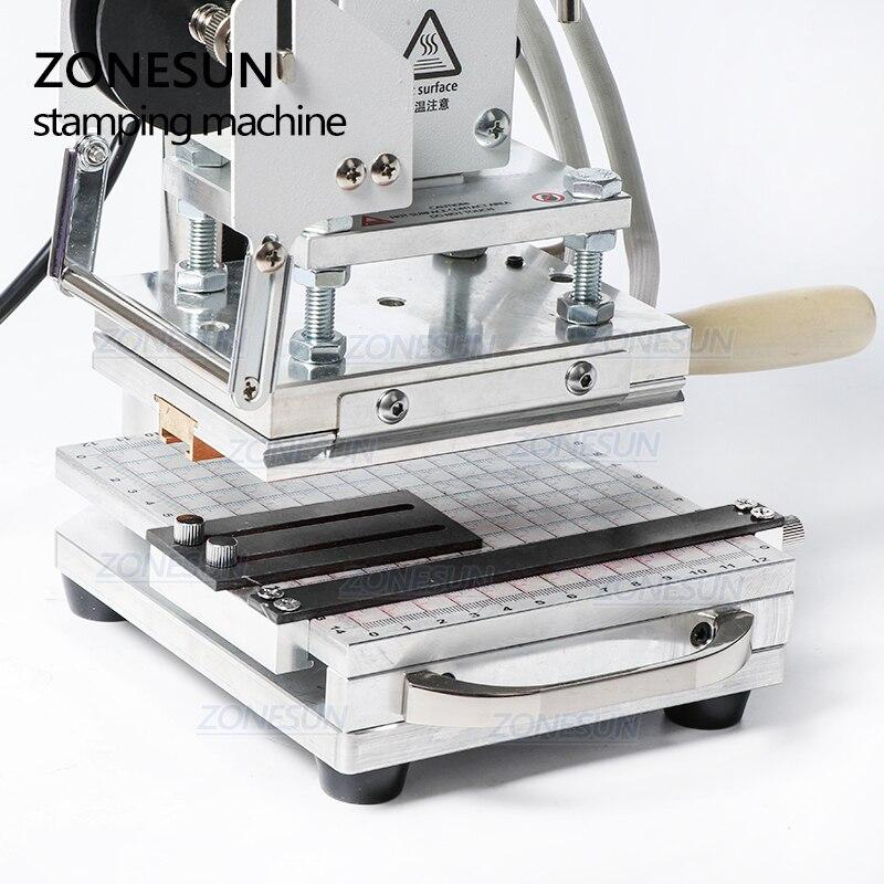 ZONESUN Heißer Folie Stanzen Maschine Für Zoll logo Slideable Werkbank Leder Präge Bronzing Werkzeug für Holz PVC DIY Initial