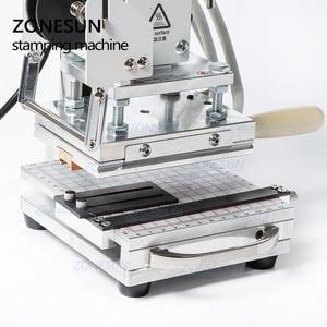 Image 3 - ZONESUN Heißer Folie Stanzen Maschine Für Zoll logo Slideable Werkbank Leder Präge Bronzing Werkzeug für Holz PVC DIY Initial