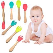 1 шт. деревянная силиконовая ложка для младенцев, вилка для безопасного кормления, столовые приборы, посуда, аксессуары для кормления младенцев, детская посуда
