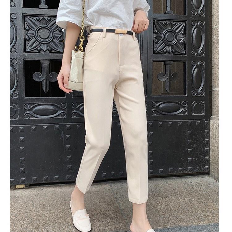 Women Solid High Waist Harem Pants 2019 Autumn Workwear Office Trousers Blue Beige Black Ankle-Length Pants