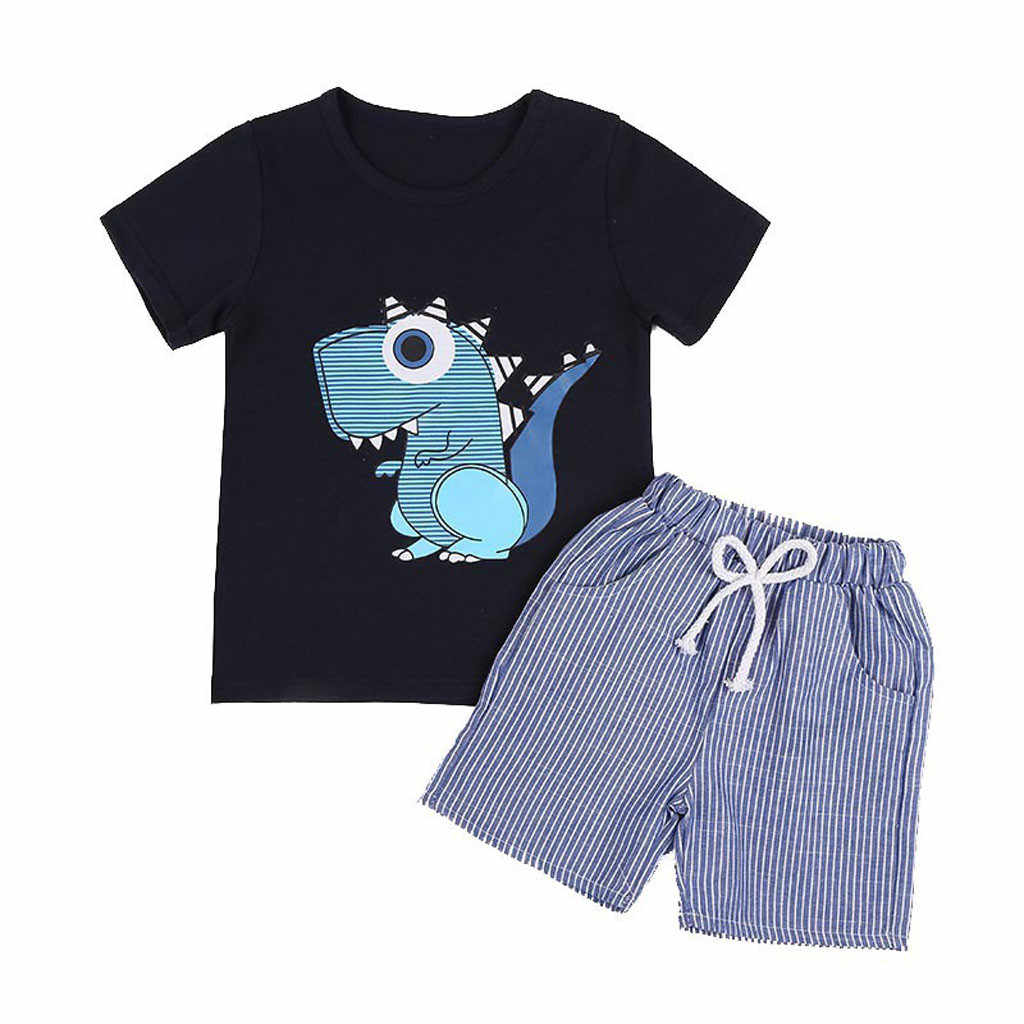 Toddler Kid roupas Baby Boys Cartoon T-shirt+ Striped Short Pants Clothes Outfits Set roupa infantil masculina ensemble garcon