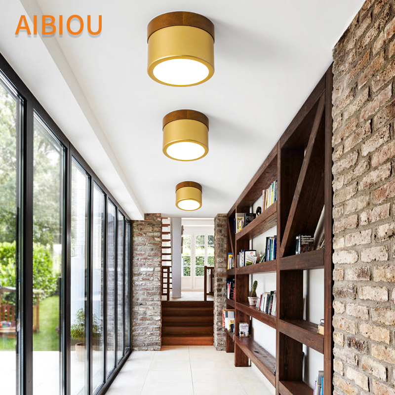 AIBIOU Round LED Ceiling Lights Modern Ceiling Lamp For Bedroom Wooden Corridor Lighting Fixture Surface Mounted Kitchen Light|Ceiling Lights| |  - title=