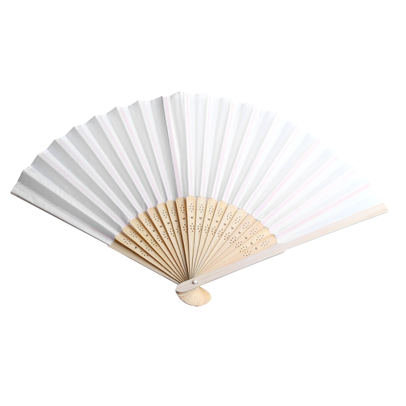 New-100 Pcs/lot Personalized Silk Hand Fan Silk Wedding Fan With Organza Gift Bag(white)
