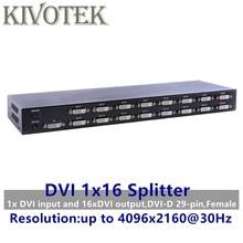 4 k 16 portas dvi divisor, ligação dupla DVI D 1x16 divisor distribuidor adaptador, conector fêmea 4096x2160 5 v alimentação para cctv hdcamera