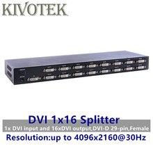 Répartiteur DVI 4K 16 Ports, double lien DVI D 1X16 répartiteur adaptateur distributeur, connecteur femelle 4096x2160 5V alimentation pour CCTV HDCamera