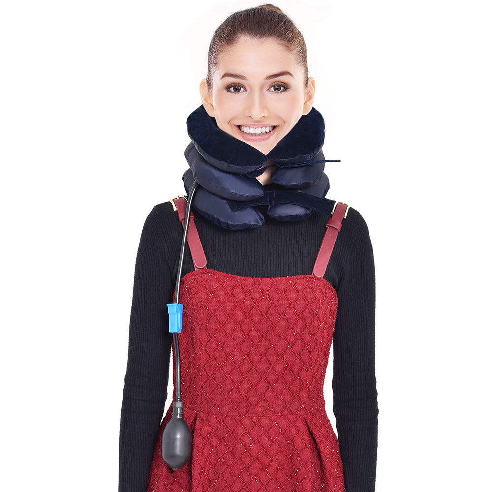 House Air Cervical Traction 1 Tube Neck Medical Devices Orthopedic Traction Pillow ollar Pain Relief Stretcher Blue Brown