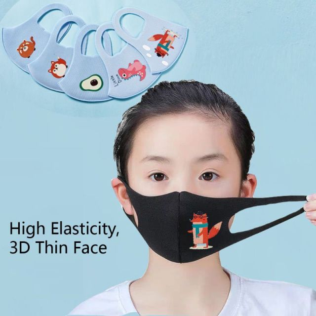 10Pcs PM2.5 Kid Anti Flu Masks Children Breathable Sponge Dustproof Mouth Mask Cartoon Pattern Random