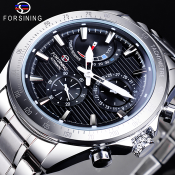 Forsining Power Reserve Design Automatic Mechanical Watch Black Silver Stainless Steel Waterproof Wristwatch Luminous Date Clock