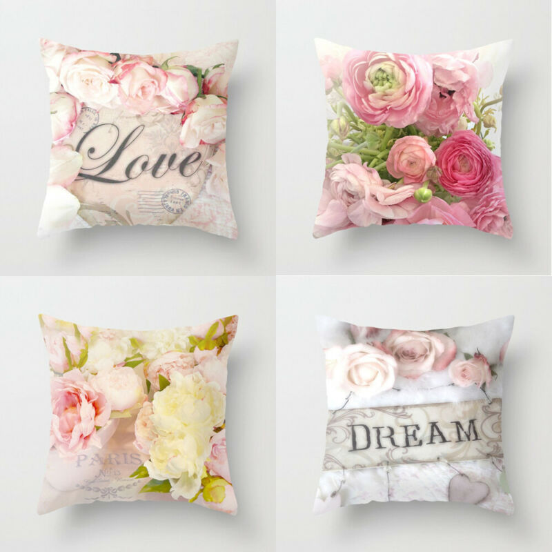 HOT Rose Floral Cotton Cushion Cover Sofa Car Waist Home Decor