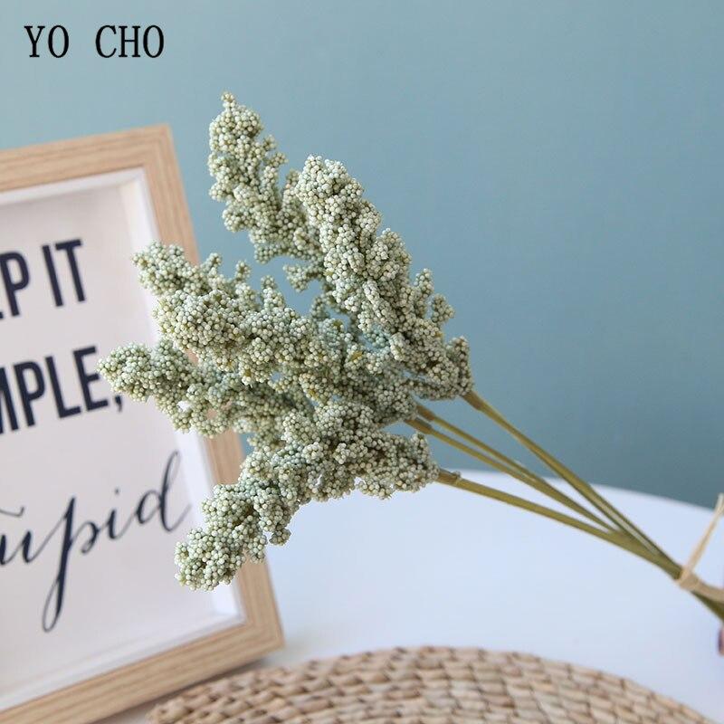 6 Pcs/ Bundle Artificial Vanilla Mini Foam Berry Spike Artificial Flowers Bouquet For Home Plant Wall Decoration Cereals Plants