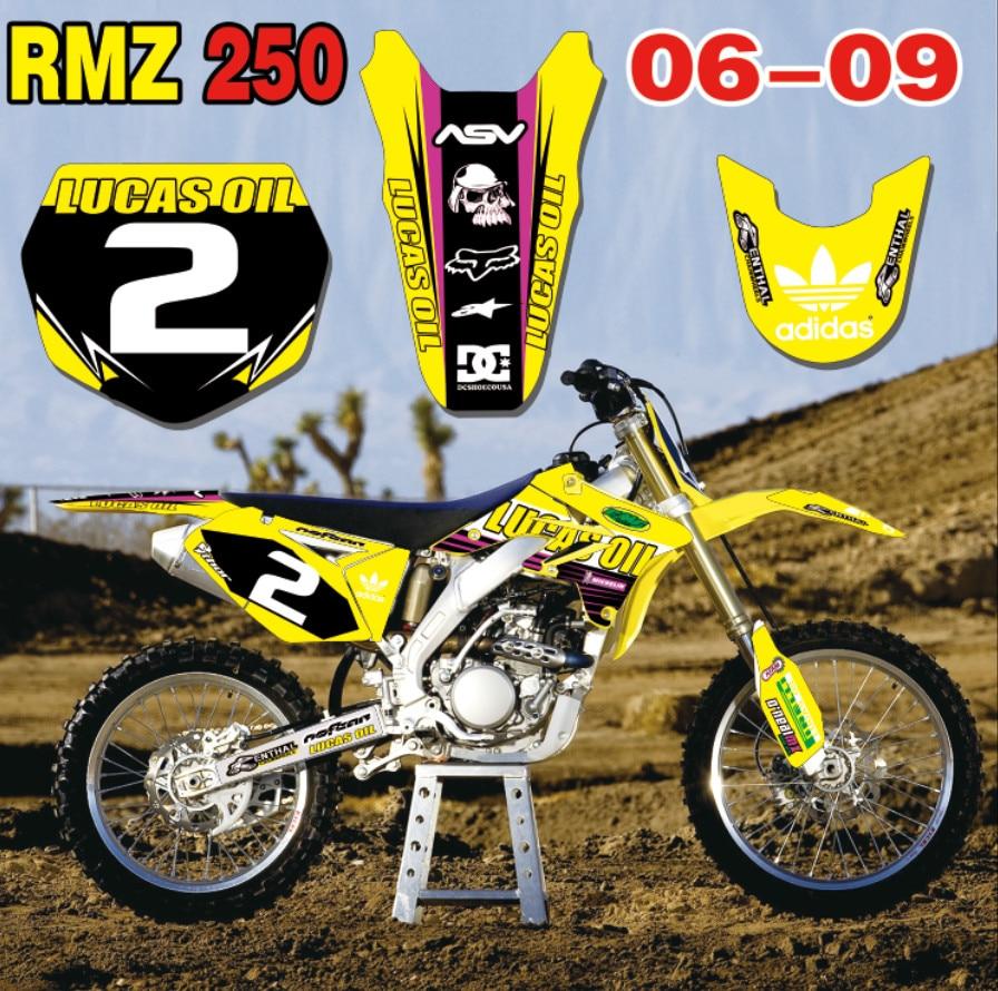 2007 2008 2009 RMZ 250 GRAPHICS KIT SUZUKI RMZ250 07 08 09 DECO DECALS STICKERS