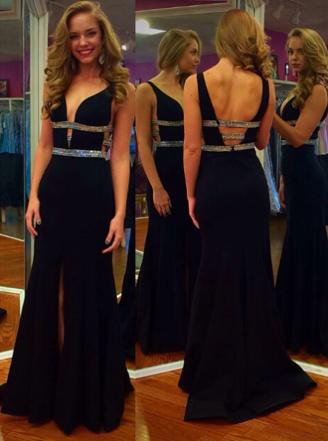 Evening Dress Sexy Royal Blue Floor-length Deep V-Neck Beading Slip Formal Prom Dress Party Gown