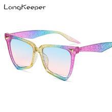 Gafas de sol LongKeeper Retro de lujo de ojo de gato, gafas de Color caramelo para mujer, gafas de marca de diseñador clásico Vintage Rainbow Eyewear UV400
