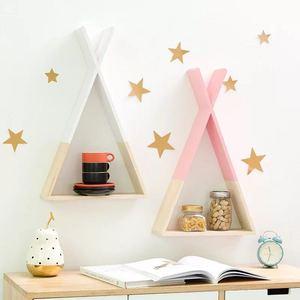 Image 4 - Nordic Style Nursery Wooden X Hanging Storage Rack Decoration Frame For Kids Room  Wood Decor Rack For Scandinavian Kids Room