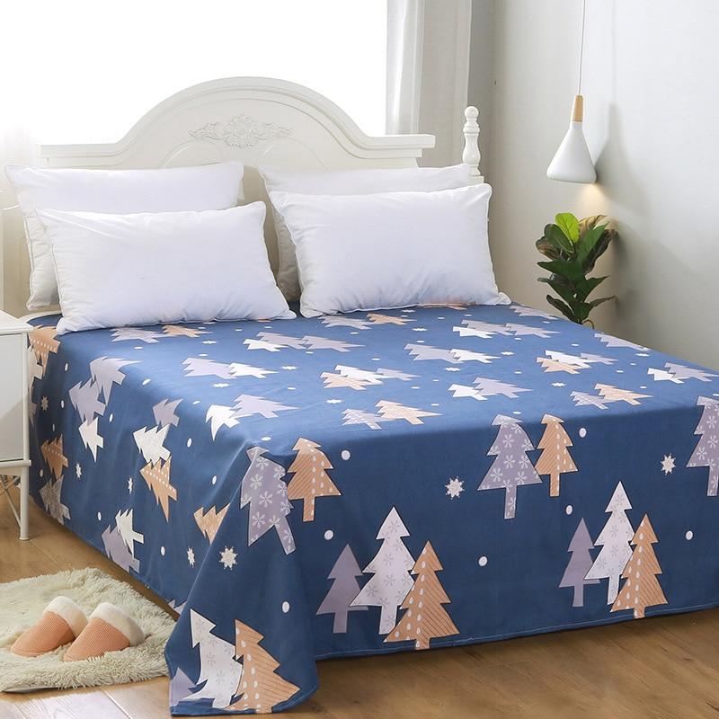Yaapeet 3pc ensemble de literie coton impression dessin animé plante Plaid drap plat matelas couverture drap de lit avec 2pc taie d'oreiller
