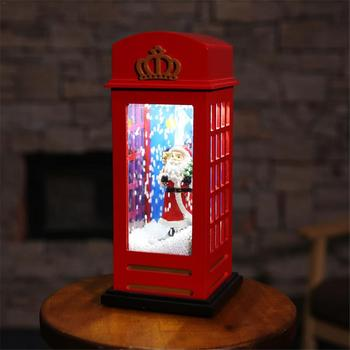 Lighted Music Snow Decoration Battery Phone Booth Glowing USB Powered Santa Claus Night Light For Home Mall Decoration