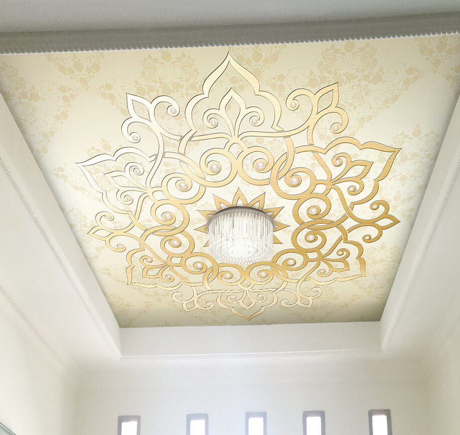 3D Simple European Style Ceiling Wallpaper Living Room Bedroom Roof Ceiling Background Wallpaper Glorious Decorative Pattern Lar