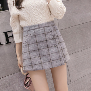 Image 4 - 2020 New Fashion Single breasted Plaid Shorts Skirts Womens Korean Vintage Woolen Shorts Autumn Winter Casual Culottes