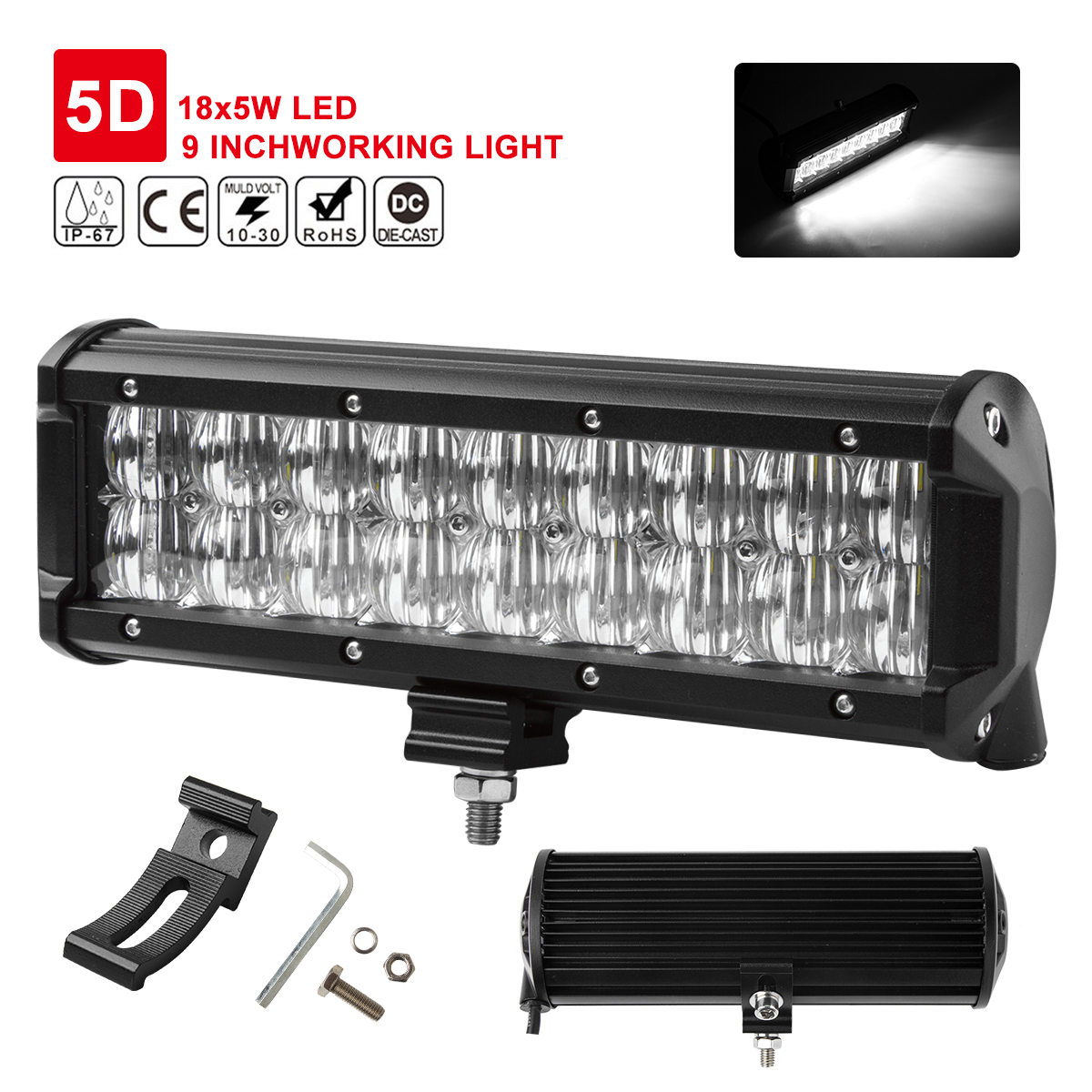 9inch 90W 5D Lens LED Light Bar Flood Spot Work Lamp SUV ATV 4WD work light Stright Light for Car ATV/UTV/Golf cart lighting image