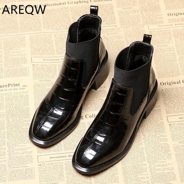 Ankle Boots Martin Botas 2019 Outono e Inverno das mulheres Sapatos Casuais Cabeça Quadrada Conjuntos de Pés com As Mulheres Da Moda das Botas