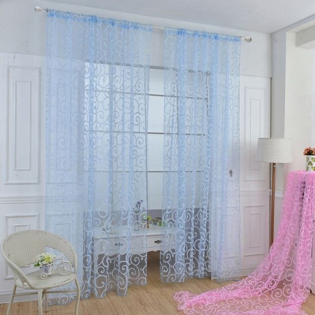 Pretty Floral Modern Sheer Tulle Curtains for Living Room Bedroom Kitchen Voile Sheer Curtains for Window Tulle Curtains Drapes1 2