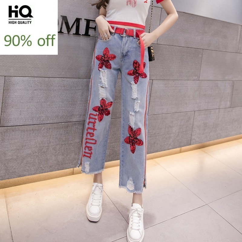 New Brand Embroidery Sequins Hole Ripped Womens Denim Pants Ankle Length High Waist Size Zipper Loose Wide Leg Boyfriend Jeans