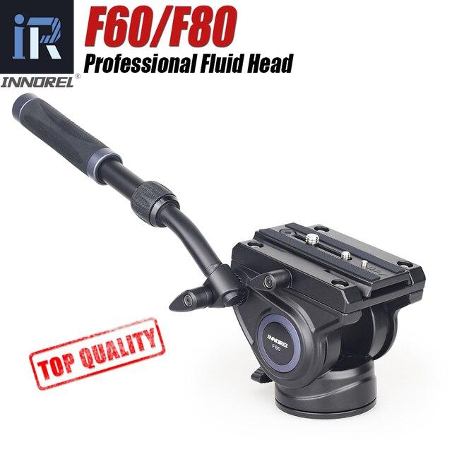 F60/F80 Cabeça Fluid Vídeo Panorâmico Hidráulico Deslizante DSLR Câmera Tripé Cabeça para Monopé ajustável Alça Manfrotto Q.R. Placa