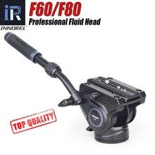 F60/F80 וידאו נוזל ראש פנורמי הידראולי DSLR מצלמה חצובה ראש עבור חדרגל מחוון מתכוונן ידית Manfrotto ש. R. צלחת